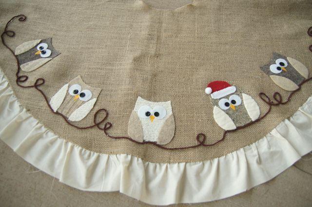 the little green bean: Loving the Owls!! Owl Tree Skirt and stuff