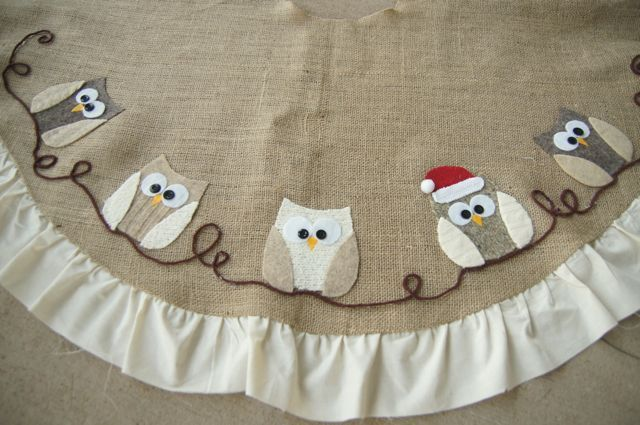 Owl Christmas Tree skirt. How cute! The owls were made with old sweaters too!