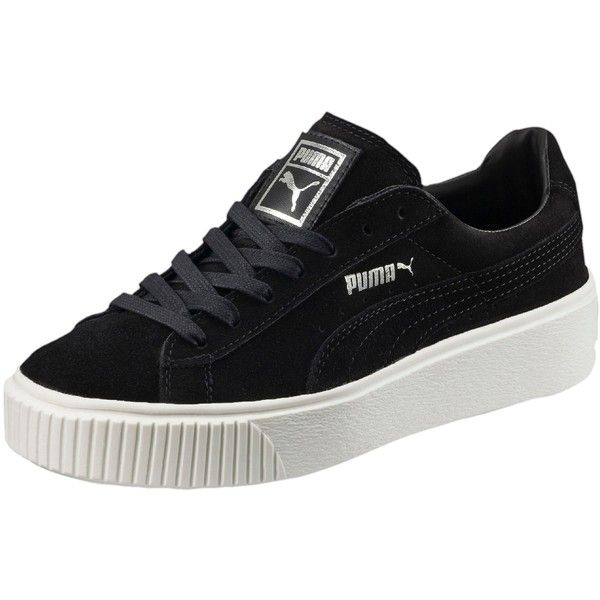 Puma Suede Platform Women's Sneakers (£78) ❤ liked on Polyvore featuring shoes, sneakers, puma, lace up sneakers, platform shoes, puma sneakers, platform sneakers and metallic shoes