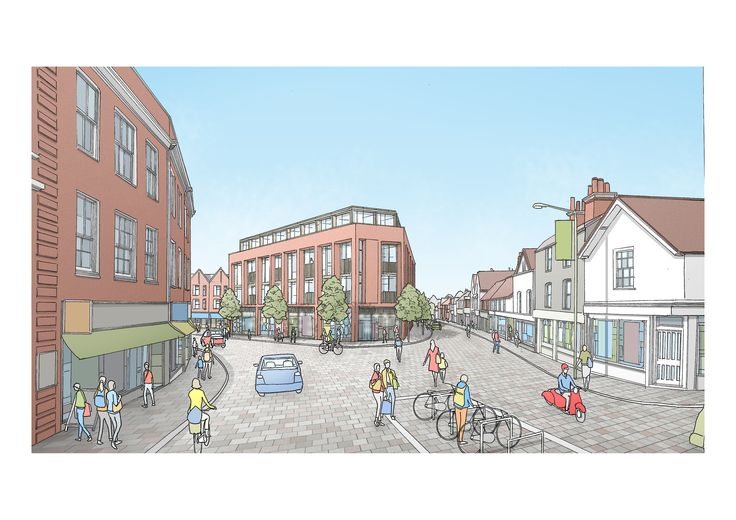 Guildford's North Street and Chertsey Street as it could look in the future - proposed in the draft Town Centre Masterplan.