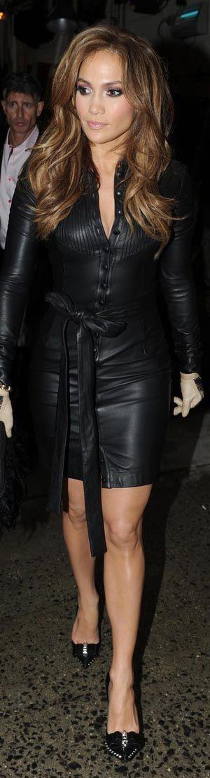leather fashion dress #black