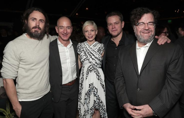 Matt Damon, Casey Affleck, Kenneth Lonergan, Michelle Williams, and Jeff Bezos at an event for Manchester by the Sea (2016)