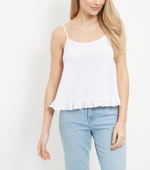 White Frill Crop Cami    New Look