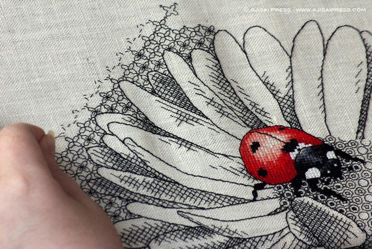 wip blackwork ladybug and daisy