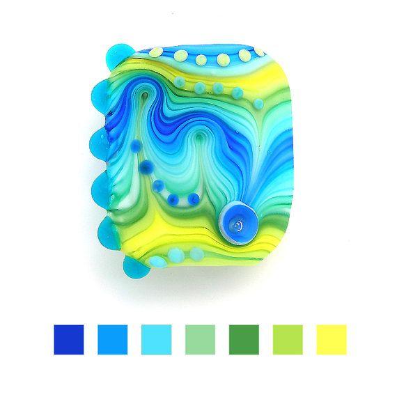 handmade rainbow glass lampwork blue focal bead by michals on etsy