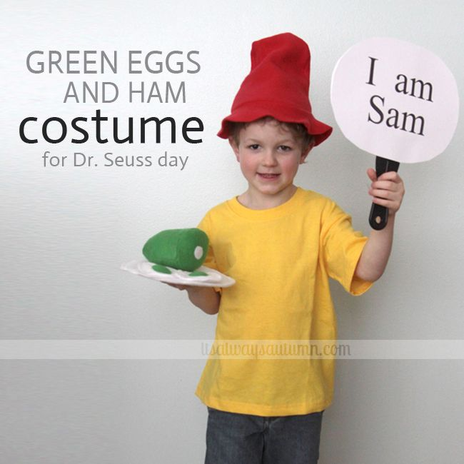 """""""Sam-I-am"""" costume from the book Green Eggs and Ham. Total cost for shirt, hat, and green eggs: $5. Total time invested: 1 hr. Totally worth it"""