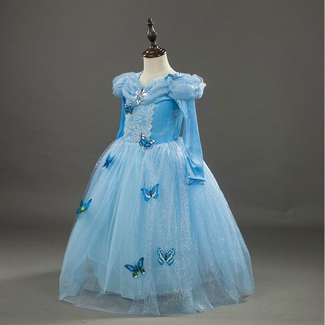 Source Latest arrival winter princess dress long sleeve long frock design with butterfly decorate for frozen BXHD02 on m.alibaba.com