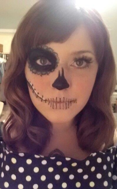 My DIY half sugar skull makeup, and retro waves.