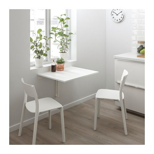 $40 NORBERG Wall-mounted drop-leaf table  - IKEA -- if can't put by window, hang mirror above table instead; maybe cover with veneer of wood as well, with dark stain