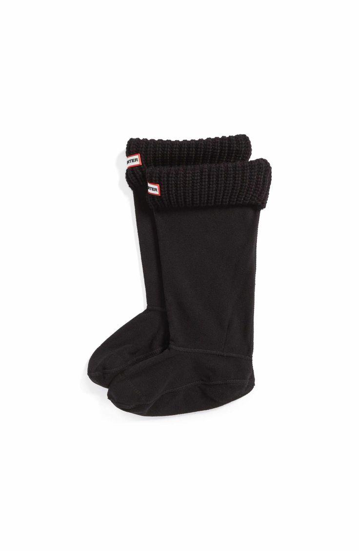 Main Image - Hunter Tall Cardigan Knit Cuff Welly Boot Socks (Medium) (Black)