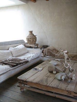 rustic french interior. love the rustic table