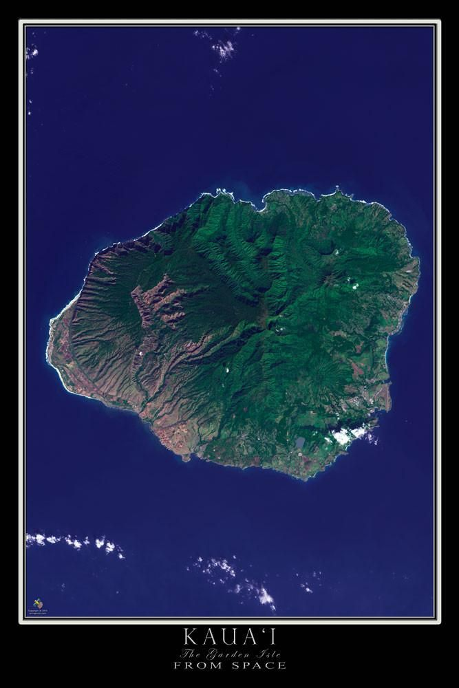 Kauai Island Hawaii From Space Satellite Poster Map by TerraPrints.com. Available in multiple sizes with free shipping in the USA.