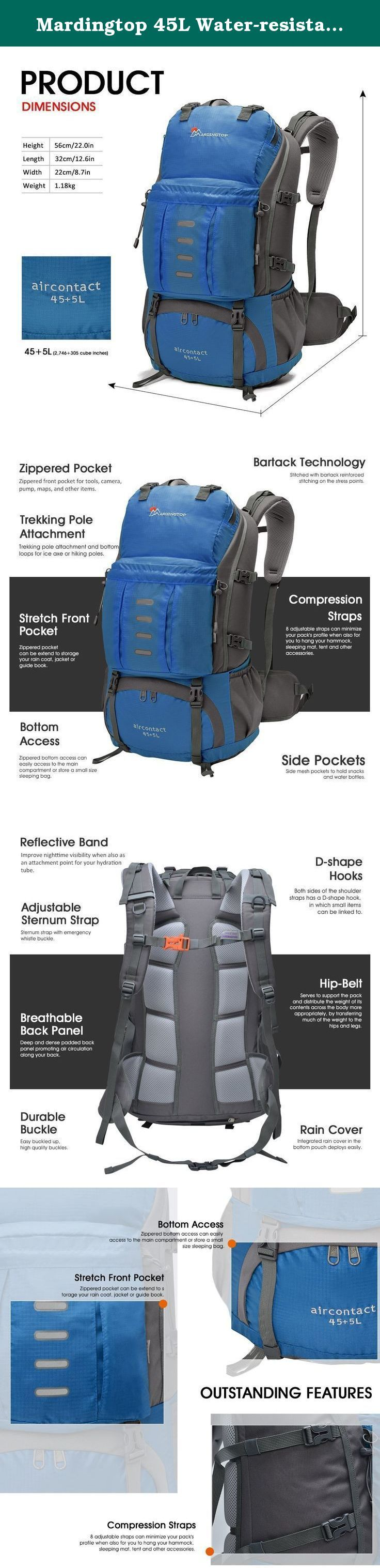 Mardingtop 45L Water-resistant Hiking Daypack/Camping Backpck/Travel Daypack/Casual Backpack Including Rain Cover for Outdoor Climbing-5901Gray. Features Capacity: 1.8 adjustable straps can minimize your pack's profile when also for you to hang your hammock, sleeping mat, tent and other accessories. 2.Trekking pole attachment and bottom loops for ice axe or hiking poles. Bearing System: 3.Adjustable sternum strap 4.Durable Buckle Padded and breathable mesh back panel and shoulder straps...