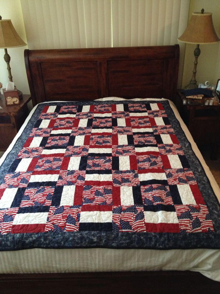 """5th Quilt of  Valor The red and blue strips are 2 1/2"""" The white strip is 3 1/2"""" Sew red white blue strips together  Cut this 42 x 7 1/2 into 7 1/2 squares Cut the flag fabric into 7 1/2 squares"""