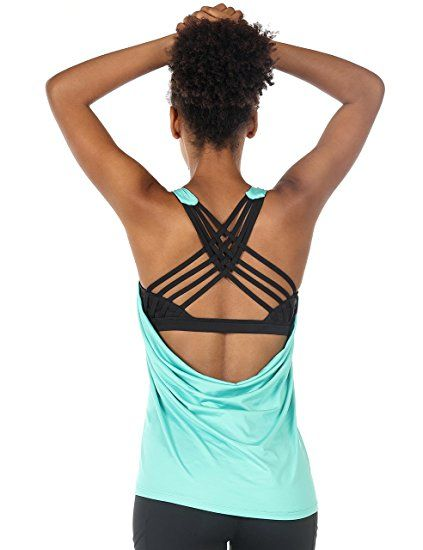 20f1eb5722ed6 icyzone Yoga Tops Workouts Clothes Activewear Built In Bra Tank Tops For  Women (L