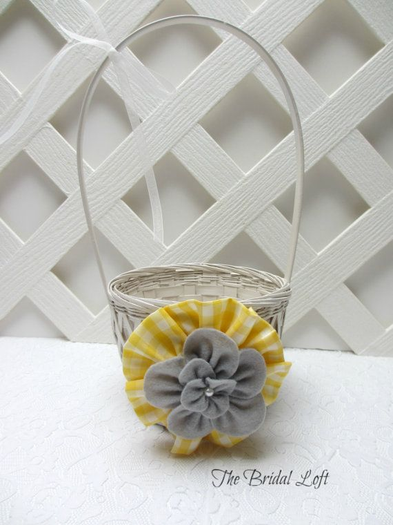Yellow Gingham Flower Girl Basket Yellow and Gray by BridalLoft, $18.00
