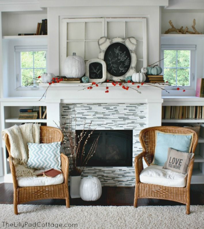 fall mantel decorating with chalkboards - Decor For Mantels