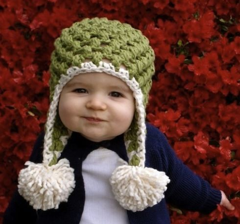Too cute! Crocheted hat with pom poms