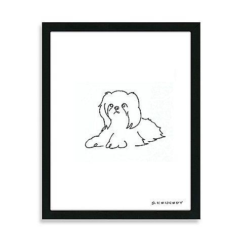 Shih Tzu Framed Line Drawing