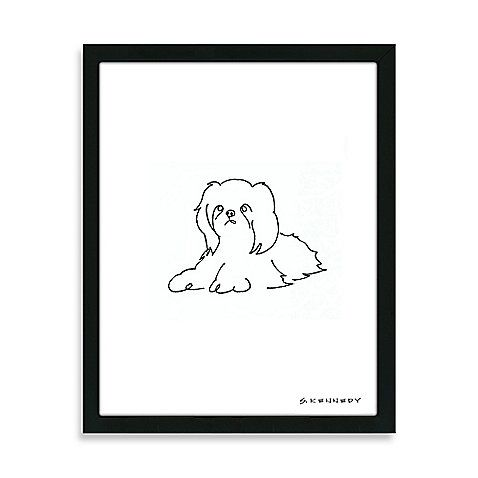 Shih Tzu Framed Line Drawing