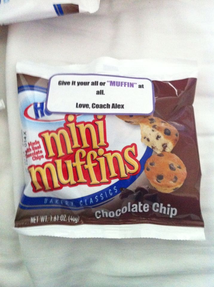 """Motivational gift, cheer candy, inspirational, cheerleading, team gift, coaches gifts, """"give it your all or MUFFIN at all"""", mini muffins, candy sayings, candy grams, DIY, cheer gram, competition good luck, food puns, gift, cheer treat"""