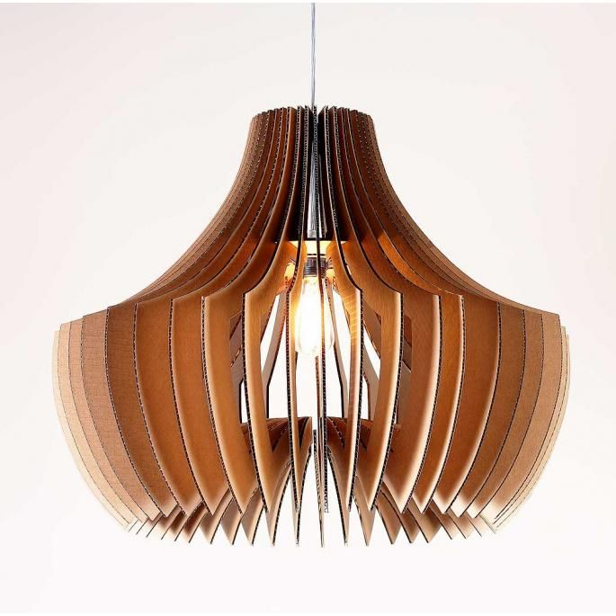 """Adler Sculptural Pendant Light   from Inhabit @ InhabitLiving.com  --  Small: 16""""x20""""x20""""  Medium: 20""""x25""""x25""""  Large: 24""""x30.5""""x30.5""""  X-Large: 36""""x43.5""""x43.5""""   --  made of industrial strength single wall cardboard w/ 70% recycled content."""