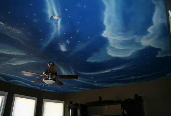 25 best j 39 s mickey mouse room images on pinterest minnie for Ceiling mural in smokers lounge