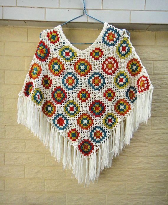 granny square crochet poncho