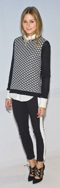 Who made  Olivia Palermo's white button down shirt, black tuxedo pants, suede lace up shoes, jewelry, and print sweater that she wore in New York?