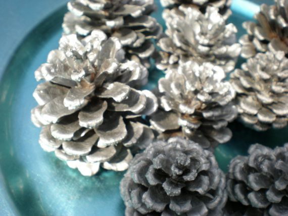 Painted Pinecones by PurpleWindCreations on Etsy, $5.00 for 10 silver painted pinecones!!