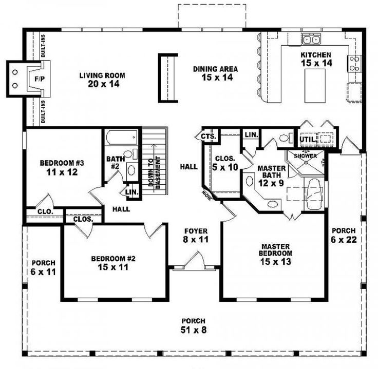654173 one story 3 bedroom 2 bath country style house Three bedroom floor plan house design