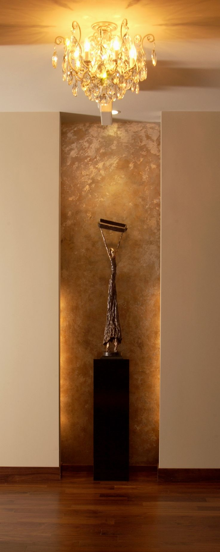 Distressed Silver & Gold Leaf Niche as created by the artists at Trompe Decorative Finishes