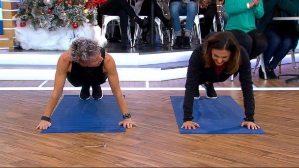 PHOTO: Erin Oprea, Carrie Underwood's trainer, shares a post-Christmas workout to do at home on 'Good Morning America,' Dec. 26, 2017. (ABC News)