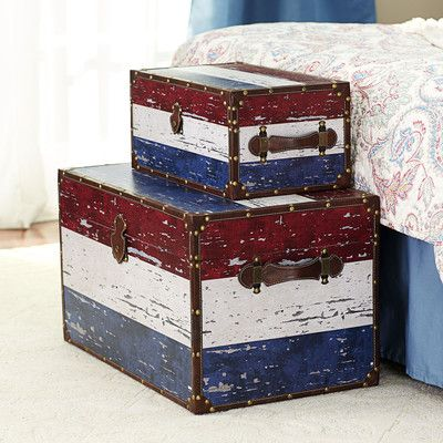 Household Essentials 2 Piece Decorative Storage Trunk Set