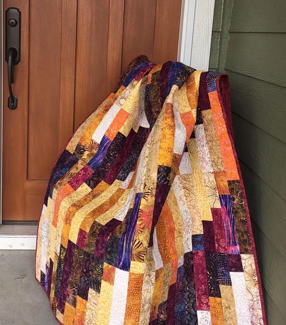 Batik Quilt Throw Quilt Lap Quilt Couch Quilt Quilted Coverlet