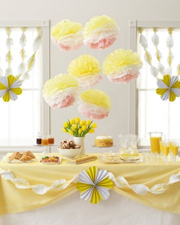Multi colored poms & fringy streamers.  Lemon Party.Rise and shine with a bold pop of color.
