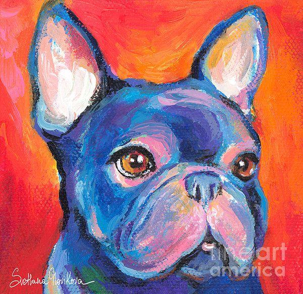 Cute French Bulldog painting by Svetlana Novikova, www.SvetlanaNovikova.com