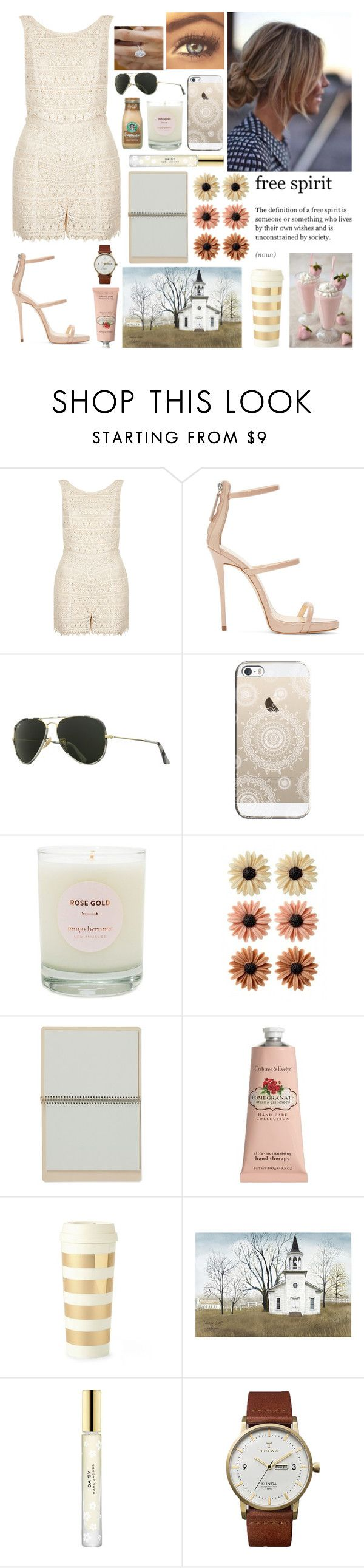 """Peach"" by coloradomustang0312 ❤ liked on Polyvore featuring Topshop, Giuseppe Zanotti, Ray-Ban, Casetify, Maya Brenner Designs, mae, Crabtree & Evelyn, Kate Spade, Marc Jacobs and Triwa"
