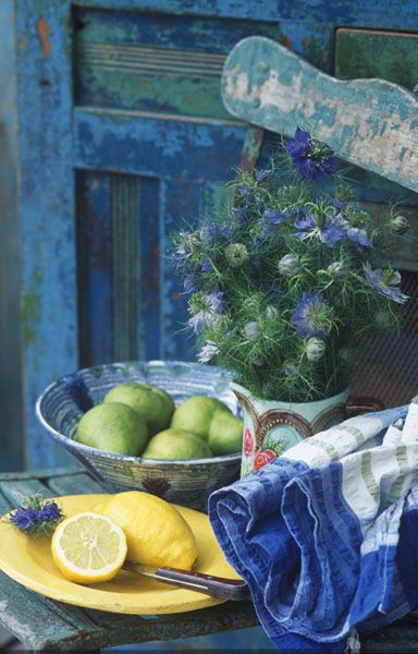 lovely...Vignettes, Lemon Limes, Vintage House, Blue Doors, Art, French Country, Pears, Painting Colors, Country Life