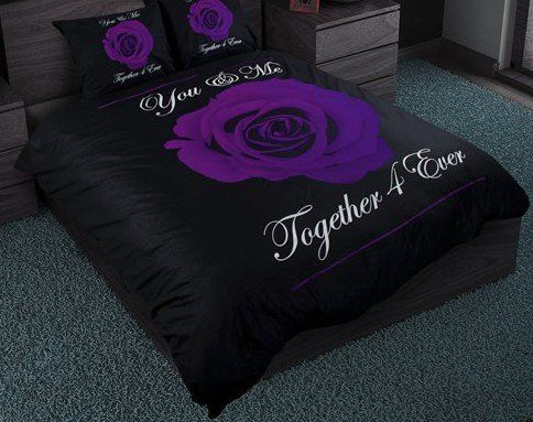 Dekbedovertrek You & Me purple/black van Sleeptime.