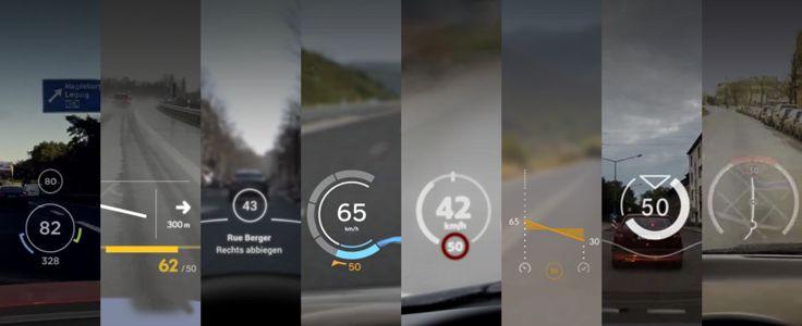 Eight head-up display concepts for better near-future automotive HUDs, incl. BMW, Tesla, Merceds, VW, Mini, smart, Lexus, Citroën.