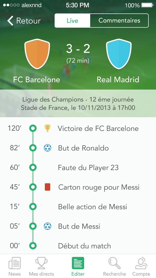 iOS7 Event screen update by Alexandre Naud / deportes futbol / soccer sports app design example