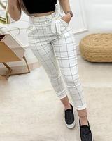 boutiquefeel / Pantalones casuales de cintura alta con rejilla y bolsa de papel
