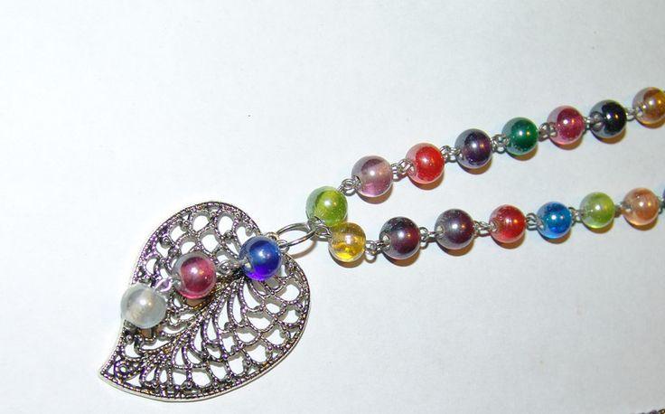 Ketten lang - Halskette lang mit Herzanhänger bunt - ein Designerstück von Bianca-Schinagl bei DaWanda