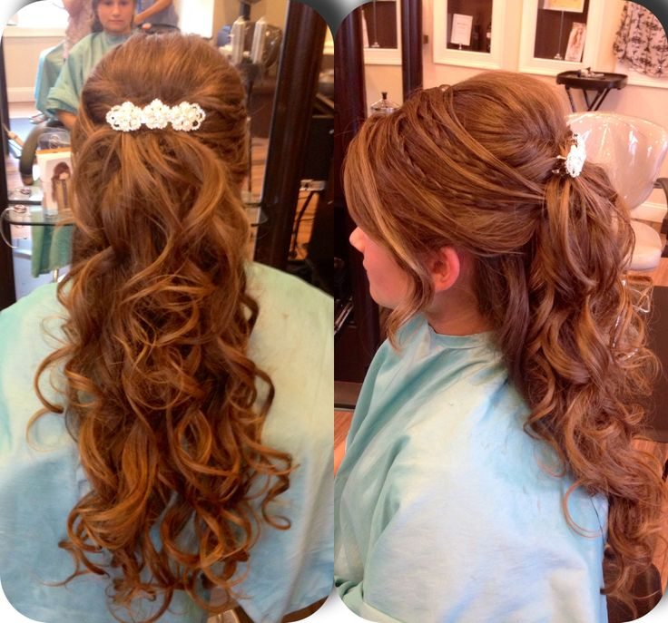 Half up half down prom updo with curls with braids