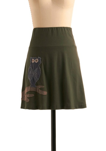 olive/owlVintage Skirts, Owls Skirts, Clothing, Blue Brown, Hoo, Novelty Prints, Retro Vintage, Modcloth Com, Fall Shorts