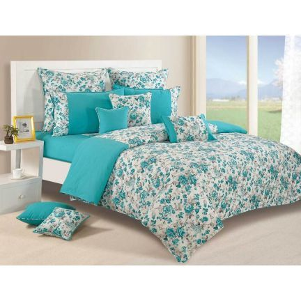"#DiwaliDecor #FabFurnish Cleaning the house and placing new bed sheets is the story of every house. So ""Swayam Turquoise Paradise Printed Bed Linen Set"" from fabfurnish."
