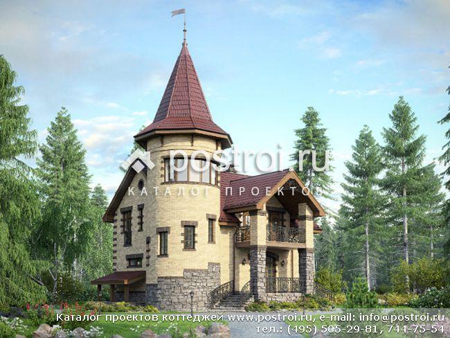 Дом с круглой башней № M-202-1K [M165 (34-56)]