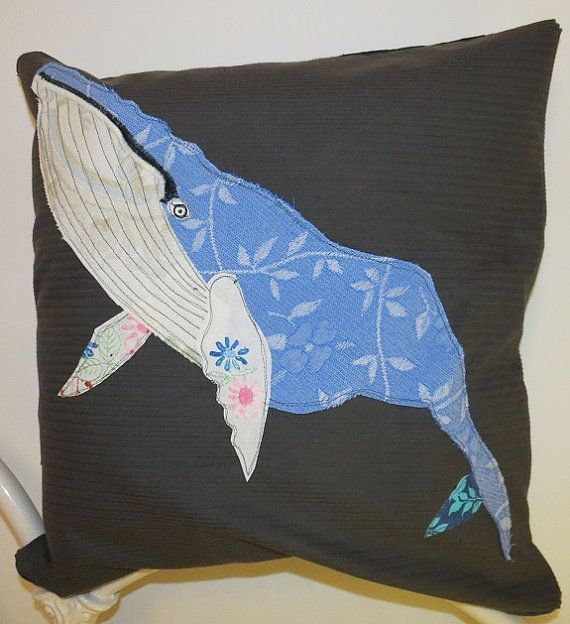 Whale Cushion Cover  Whale Pillow Cover   Cushion by RoobarbTree