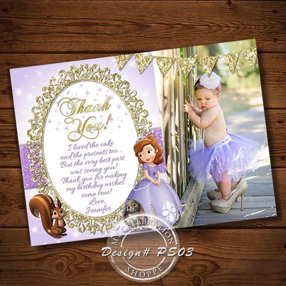 PRINCESS SOFIA, Thank You, Princess Sofia Thank You Card, Purple Invitation, Princess, Princess Invitation, Printable Invitation, Sophia